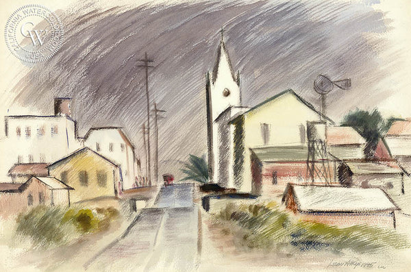 Street in Castroville, 1945, by Leon Amyx. California art, original California watercolor art for sale, giclee, fine art print for sale - CaliforniaWatercolor.com