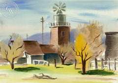 Tank House and Windmill, 1939, by Leon Amyx. California art, original California watercolor art for sale, giclee, fine art print for sale - CaliforniaWatercolor.com