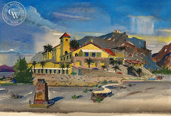 Furnace Creek Inn, California art by Leonard Scheu. HD giclee art prints for sale at CaliforniaWatercolor.com - original California paintings, & premium giclee prints for sale
