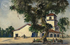 Mission San Juan Bautista, California art by Leonard Scheu. HD giclee art prints for sale at CaliforniaWatercolor.com - original California paintings, & premium giclee prints for sale