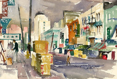 Chinatown, California art by Lois Green Cohen. HD giclee art prints for sale at CaliforniaWatercolor.com - original California paintings, & premium giclee prints for sale