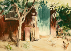 Barn with Chickens, c. 1930s, California art by Loren Barton. HD giclee art prints for sale at CaliforniaWatercolor.com - original California paintings, & premium giclee prints for sale