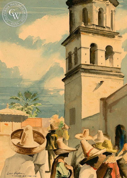 Mission Bell Tower, 1938, California art by Louis Hughes. HD giclee art prints for sale at CaliforniaWatercolor.com - original California paintings, & premium giclee prints for sale