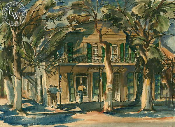 Mitchell Hotel, c. 1940s, California art by Louis Hughes. HD giclee art prints for sale at CaliforniaWatercolor.com - original California paintings, & premium giclee prints for sale