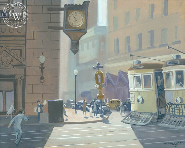 Market Street, 1946, California art by Louis Macouillard. HD giclee art prints for sale at CaliforniaWatercolor.com - original California paintings, & premium giclee prints for sale