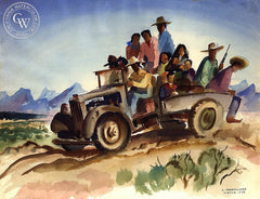 Migrant Workers, 1946, California art by Louis Macouillard. HD giclee art prints for sale at CaliforniaWatercolor.com - original California paintings, & premium giclee prints for sale