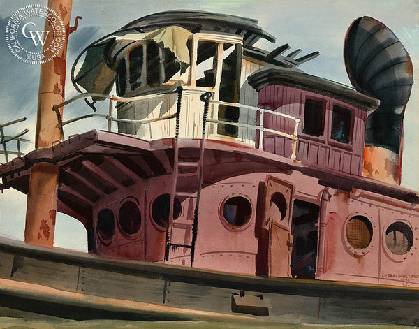 Old Red Tug, San Francisco, 1946, California art by Louis Macouillard. HD giclee art prints for sale at CaliforniaWatercolor.com - original California paintings, & premium giclee prints for sale