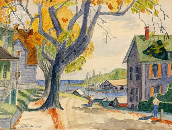 Harbor View, c. 1940, California art by Mabel Hutchinson. HD giclee art prints for sale at CaliforniaWatercolor.com - original California paintings, & premium giclee prints for sale