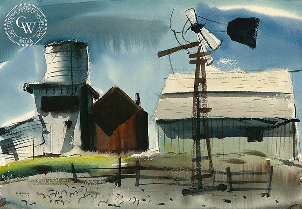 Abandoned Farm, 1948, California art by Marshall David Potter. HD giclee art prints for sale at CaliforniaWatercolor.com - original California paintings, & premium giclee prints for sale