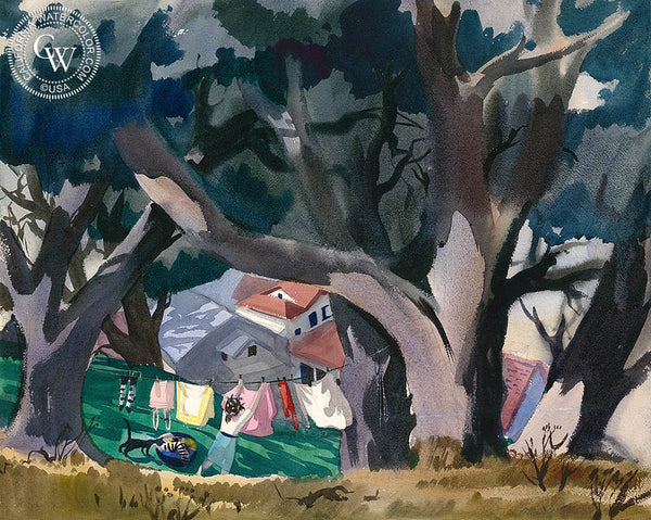 Laundry Day, 1941, California art by Mary Blair. HD giclee art prints for sale at CaliforniaWatercolor.com - original California paintings, & premium giclee prints for sale - Californai Paintings by Disney artists.