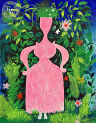 Lady in Pink, California art by Disney artist Mary Blair. Walt Disney art. HD giclee art prints for sale at CaliforniaWatercolor.com - original California paintings, & premium giclee prints for sale