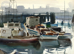 Boats in Harbor, c. 1930, California art by Maurice Logan. HD giclee art prints for sale at CaliforniaWatercolor.com - original California paintings, & premium giclee prints for sale