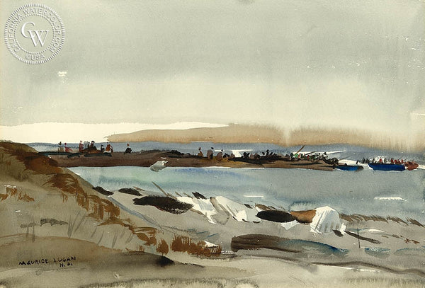 Fisherman on Jetty, c. 1930's, California art by Maurice Logan. HD giclee art prints for sale at CaliforniaWatercolor.com - original California paintings, & premium giclee prints for sale