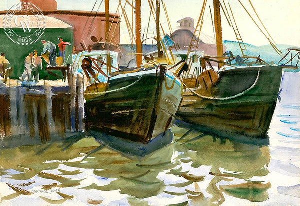 Fishing Boats, c. 1930's, California art by Maurice Logan. HD giclee art prints for sale at CaliforniaWatercolor.com - original California paintings, & premium giclee prints for sale