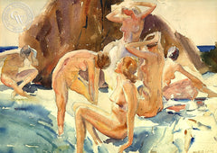 Nudes by the Rocks, c. 1930's, California art by Maurice Logan. HD giclee art prints for sale at CaliforniaWatercolor.com - original California paintings, & premium giclee prints for sale