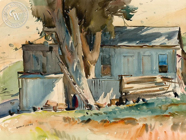 The Chicken House, c. 1930, California art by Maurice Logan. HD giclee art prints for sale at CaliforniaWatercolor.com - original California paintings, & premium giclee prints for sale