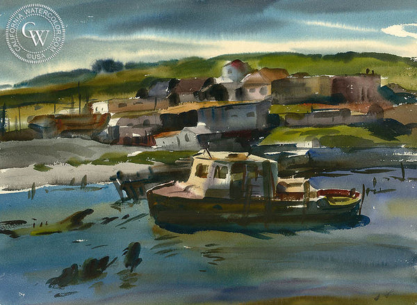 Untitled Harbor Scene, California watercolor art by Maurice Logan. HD giclee art prints for sale at CaliforniaWatercolor.com - original California paintings, & premium giclee prints for sale