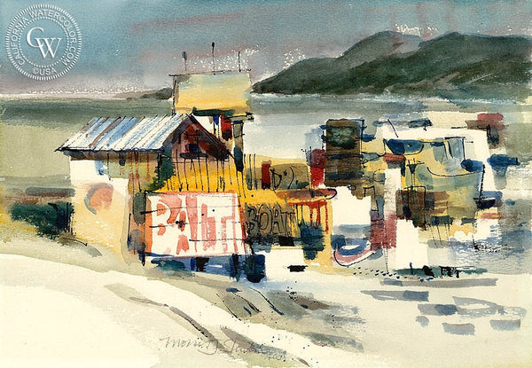 Bait Shop, California art by Morris Shubin. HD giclee art prints for sale at CaliforniaWatercolor.com - original California paintings, & premium giclee prints for sale
