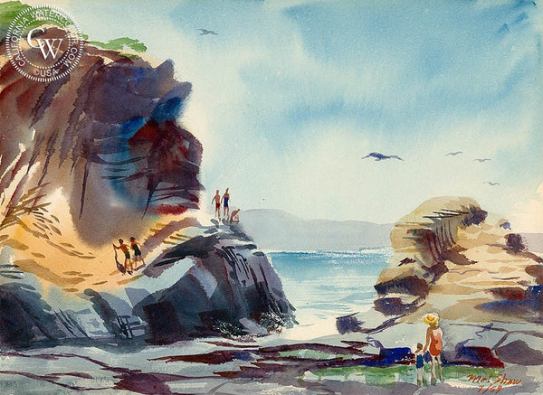 Mel Shaw - Path Between the Coves, Laguna Beach, 1959 - California art - Californiawatercolor.com