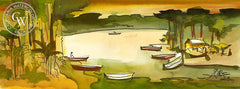 Boats at Rest, 2001, California art by Milford Zornes. HD giclee art prints for sale at CaliforniaWatercolor.com - original California paintings, & premium giclee prints for sale