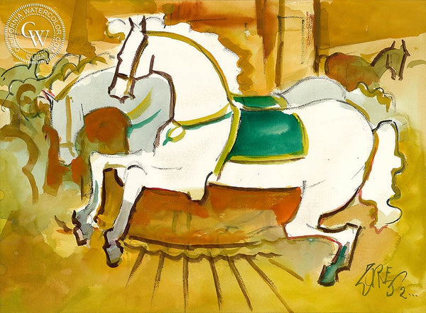 Carousel Horses, 2000, California art by Milford Zornes. HD giclee art prints for sale at CaliforniaWatercolor.com - original California paintings, & premium giclee prints for sale