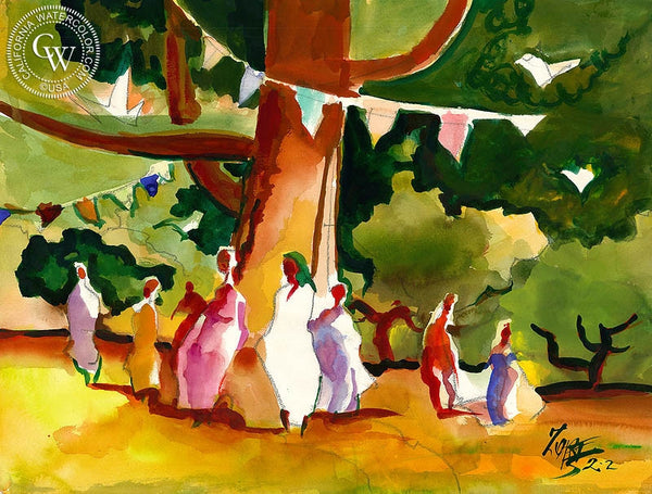 Dance in the Park, 2002, California art by Milford Zornes. HD giclee art prints for sale at CaliforniaWatercolor.com - original California paintings, & premium giclee prints for sale