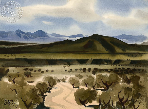 Desert Scene, 1973, California art by Milford Zornes. HD giclee art prints for sale at CaliforniaWatercolor.com - original California paintings, & premium giclee prints for sale