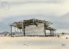 Desert Station, Colorado River South of Blythe, 1971, California art by Milford Zornes. HD giclee art prints for sale at CaliforniaWatercolor.com - original California paintings, & premium giclee prints for sale