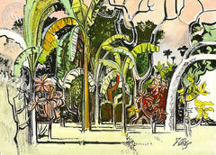 Gardin en Colima, California art by Milford Zornes. HD giclee art prints for sale at CaliforniaWatercolor.com - original California paintings, & premium giclee prints for sale