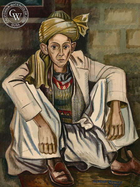 Indian Boy, 1944, California art by Milford Zornes. HD giclee art prints for sale at CaliforniaWatercolor.com - original California paintings, & premium giclee prints for sale