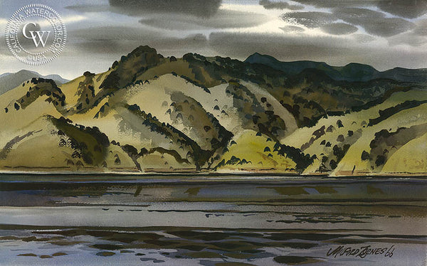 Lake Kaweah, 1966, California watercolor art by Milford Zornes. HD giclee art prints for sale at CaliforniaWatercolor.com - original California paintings, & premium giclee prints for sale