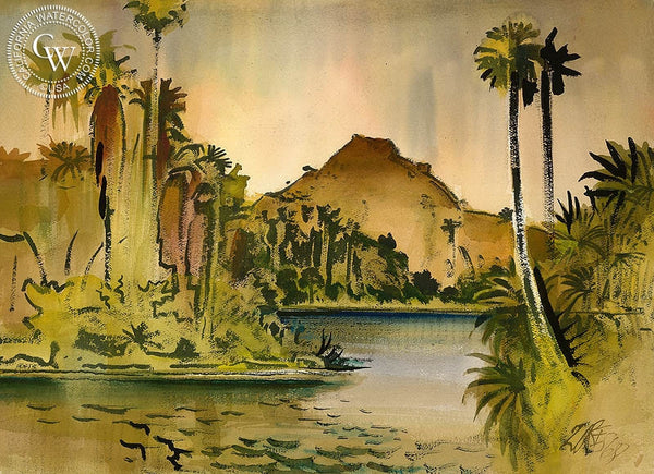 Lake in Riverside, 1968, California art by Milford Zornes. HD giclee art prints for sale at CaliforniaWatercolor.com - original California paintings, & premium giclee prints for sale