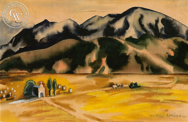 Mission in the Valley, c. 1930's, California art by Milford Zornes. HD giclee art prints for sale at CaliforniaWatercolor.com - original California paintings, & premium giclee prints for sale