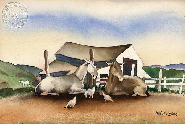 Mules, c. 1930's, California art by Milford Zornes. HD giclee art prints for sale at CaliforniaWatercolor.com - original California paintings, & premium giclee prints for sale