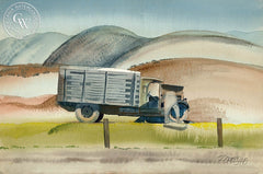 The Old Truck, 1946, California art by Milford Zornes. HD giclee art prints for sale at CaliforniaWatercolor.com - original California paintings, & premium giclee prints for sale