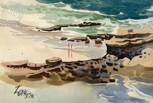 Beach Scene, 1975, California art by Milford Zornes. HD giclee art prints for sale at CaliforniaWatercolor.com - original California paintings, & premium giclee prints for sale