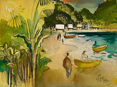 Mexican Beach, 1982, California art by Milford Zornes. HD giclee art prints for sale at CaliforniaWatercolor.com - original California paintings, & premium giclee prints for sale