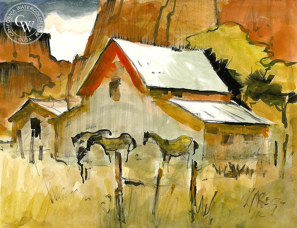 Utah Barn, 1997, California art by Milford Zornes. HD giclee art prints for sale at CaliforniaWatercolor.com - original California paintings, & premium giclee prints for sale