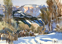 Winter at Mt. Carmel, Utah, 1970, California art by Milford Zornes. HD giclee art prints for sale at CaliforniaWatercolor.com - original California paintings, & premium giclee prints for sale