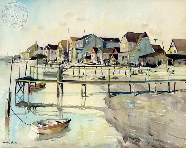 Balboa Island, 1931, California art by Millard Sheets. HD giclee art prints for sale at CaliforniaWatercolor.com - original California paintings, & premium giclee prints for sale