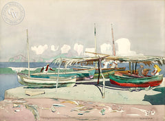 Boat Landing, Puerto Vallarta, 1970, California art by Millard Sheets. HD giclee art prints for sale at CaliforniaWatercolor.com - original California paintings, & premium giclee prints for sale