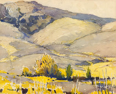 California Hillside, c. 1940's, California watercolor art by Millard Sheets. HD giclee art prints for sale at CaliforniaWatercolor.com - original California paintings, & premium giclee prints for sale
