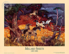 Millard Sheets, California Pintos, 1986 - California art - vintage lithograph print for sale, giclee watercolor print - Californiawatercolor.com