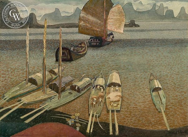 Cargo Boats and Sampan, China, 1980, California art by Millard Sheets. HD giclee art prints for sale at CaliforniaWatercolor.com - original California paintings, & premium giclee prints for sale