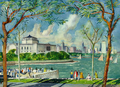 Chicago Skyline from Shedd Aquarium, 1955, California art by Millard Sheets. HD giclee art prints for sale at CaliforniaWatercolor.com - original California paintings, & premium giclee prints for sale