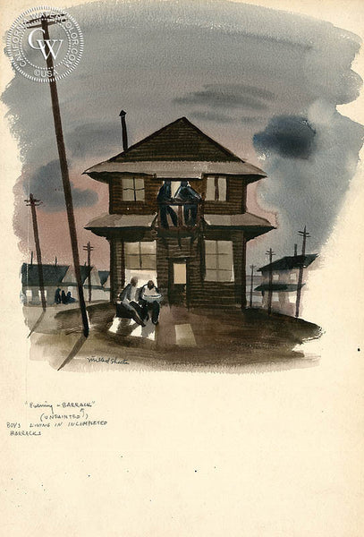 Evening Barracks, 1941, California art by Millard Sheets. HD giclee art prints for sale at CaliforniaWatercolor.com - original California paintings, & premium giclee prints for sale