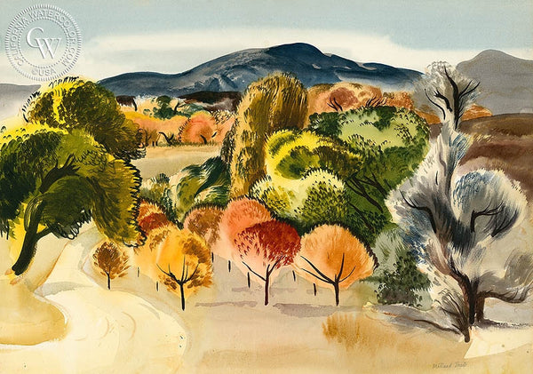 Fall Color, c. 1930's, California art by Millard Sheets. HD giclee art prints for sale at CaliforniaWatercolor.com - original California paintings, & premium giclee prints for sale