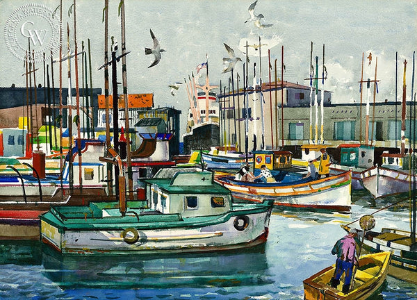 Fisherman's Wharf, San Francisco, 1965, California art by Millard Sheets. HD giclee art prints for sale at CaliforniaWatercolor.com - original California paintings, & premium giclee prints for sale