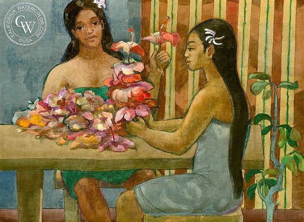 Flower Arrangers, 1972, California art by Millard Sheets. HD giclee art prints for sale at CaliforniaWatercolor.com - original California paintings, & premium giclee prints for sale