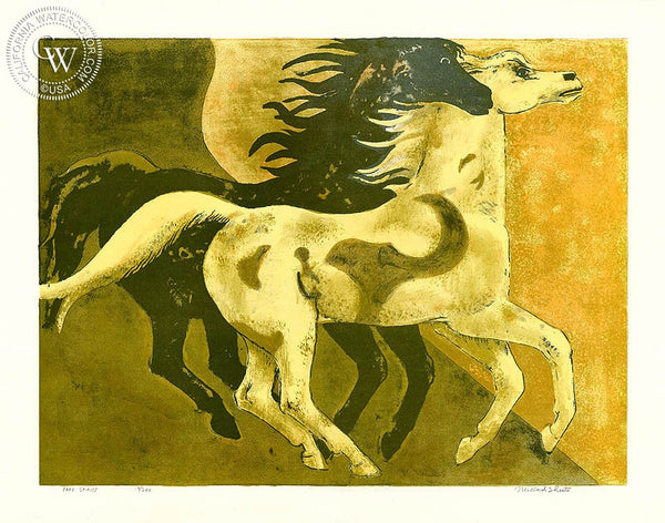 Millard Sheets - Free Spirits, c. 1970's - California art - fine art print for sale, giclee watercolor print - Californiawatercolor.com